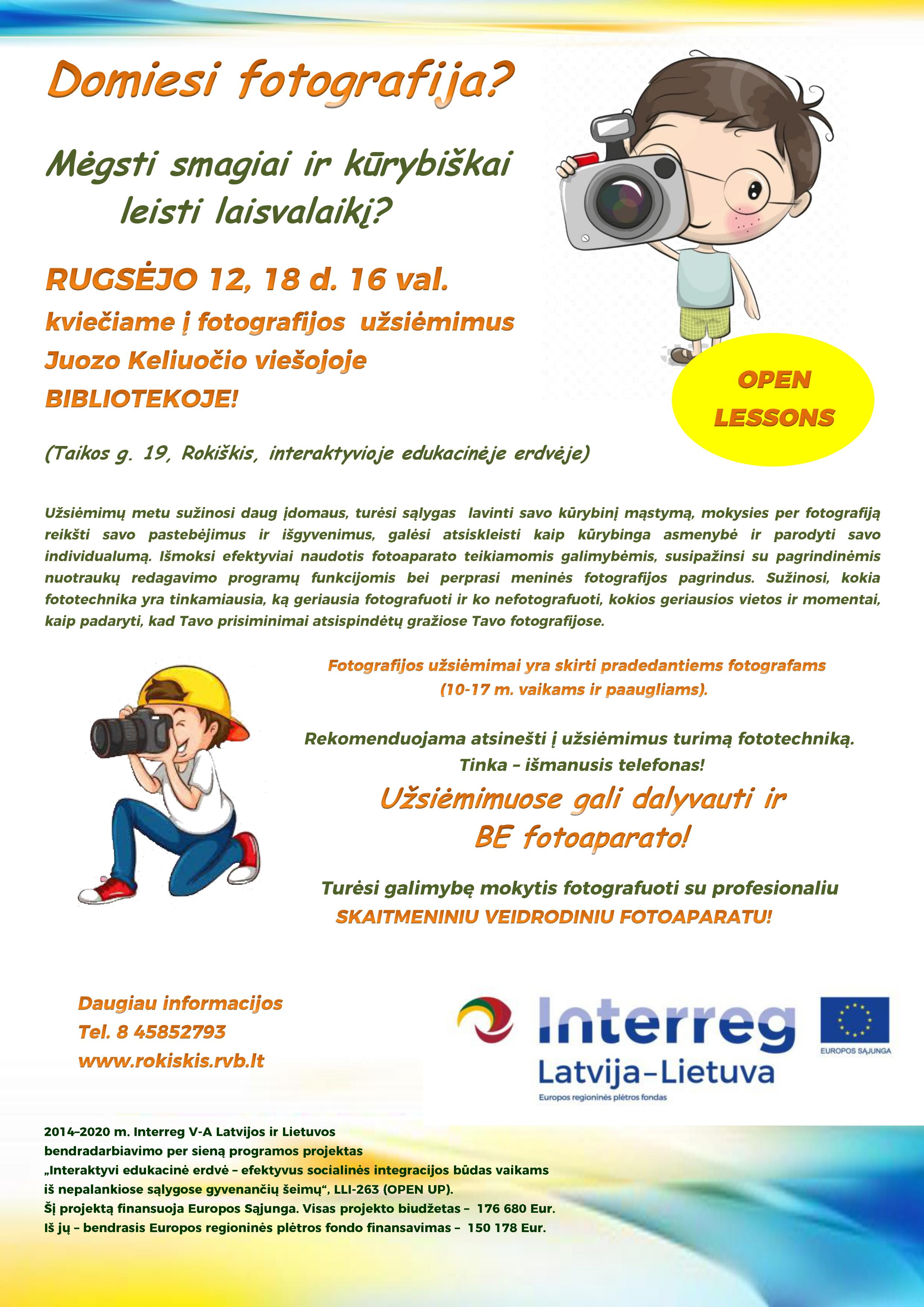 OPEN LESSON – Photography workshop at Rokiškis District